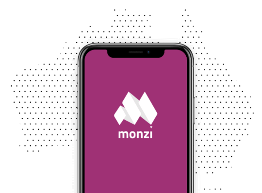 Phone with Monzi Logo on it portrayed over Australia