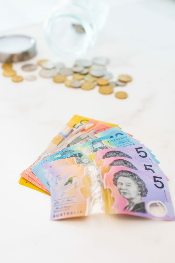 Bad credit payday loans shown in assortment of Australian banknotes